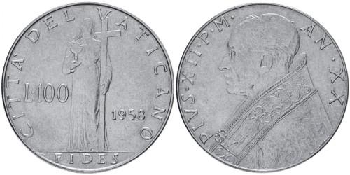 100 лир 1958 Ватикан
