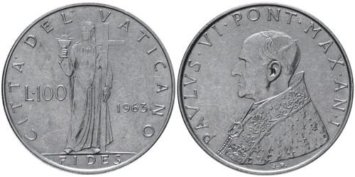 100 лир 1963 Ватикан