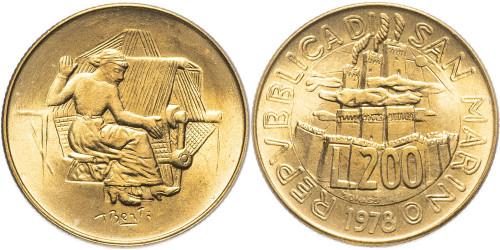200 лир 1978 Сан-Марино — Работа UNC