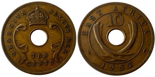10 центов 1952 Британская Восточная Африка — Отметка монетного двора: «H» — Хитон, Бирмингем