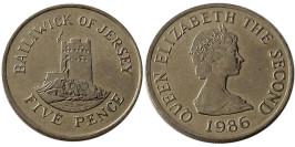 5 пенсов 1986 остров Джерси