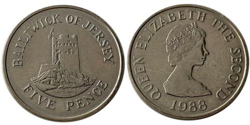 5 пенсов 1988 остров Джерси