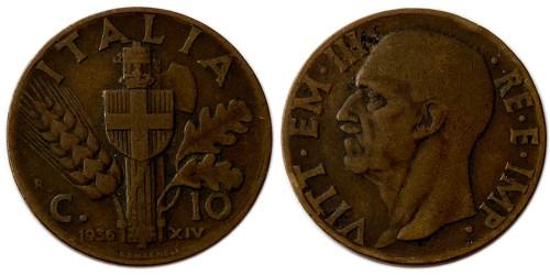 10 чентезимо 1936 Италия — Новый реверс: Герб