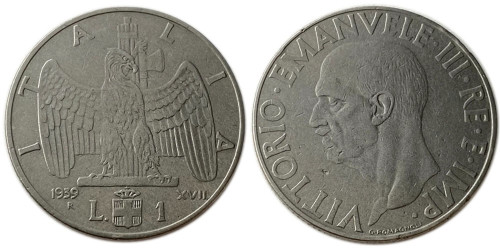 1 лира 1939 Италия — Не магнетик — 1939 — XVII