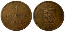 4 дубля 1864 остров Гернси №1