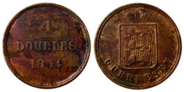 4 дубля 1864 остров Гернси №2