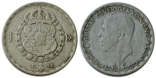 1 крона 1946 Швеция  — серебро