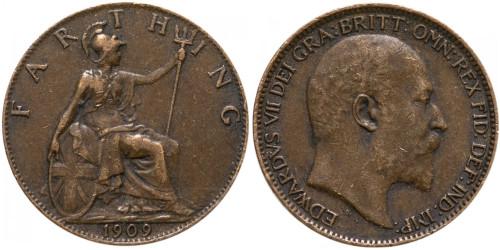1 фартинг 1909 Великобритания