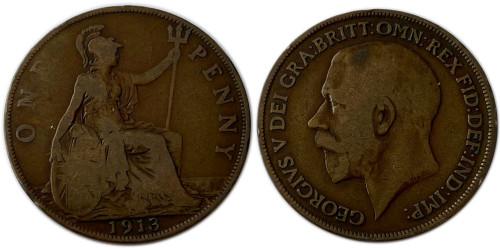1 пенни 1913 Великобритания