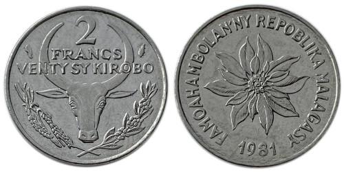 2 франка 1981 Мадагаскар — Пуансеттия прекраснейшая или молочай прекраснейший