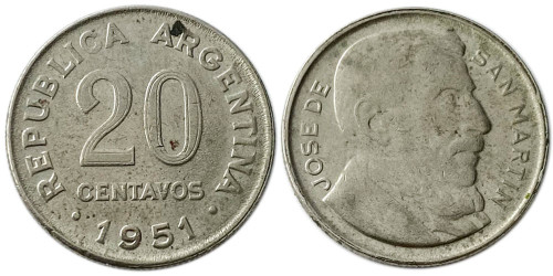 20 сентаво 1951 Аргентина