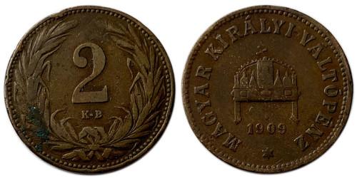 2 филлера 1909 Венгрия