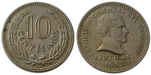 10 сентесимо 1953 Уругвай