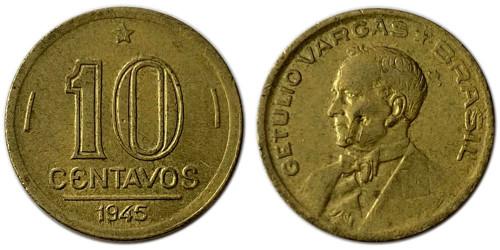 10 сентаво 1945 Бразилия — Жетулиу Варгас — Без отметки МД на аверсе и реверсе