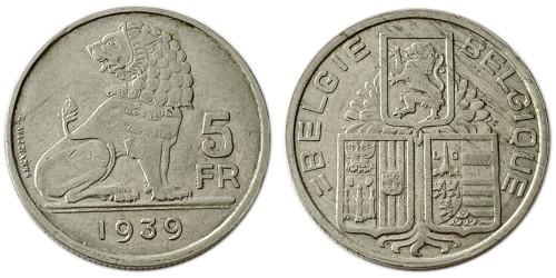 5 франков 1939 Бельгия (VL)
