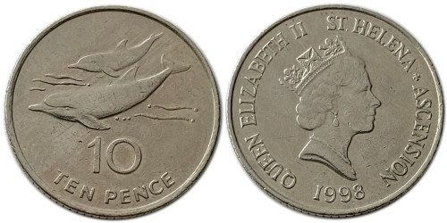 10 пенсов 1998 остров Острова Святой Елены и Вознесения