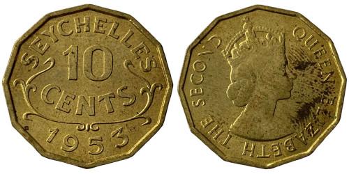 10 центов 1953 Сейшельские острова