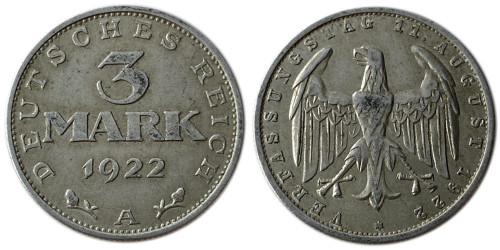 3 марки 1922 Германия — 3-я годовщина Веймарской конституции — A