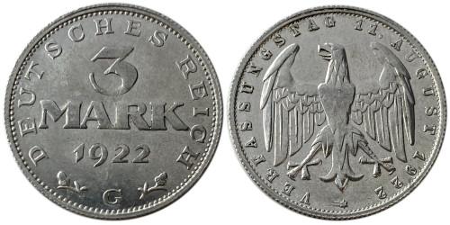 3 марки 1922 Германия — 3-я годовщина Веймарской конституции — G