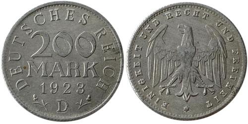 200 марок 1923 Германия — Веймарская республика — D