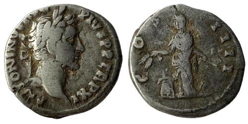 Денарий 138 — 161 г. н.е. — Антонин Пий (Аннона) — серебро