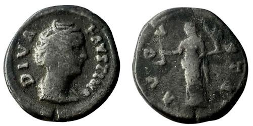 Лимесный денарий 161 — 181 г. н.е. — Фаустина I (Веста)