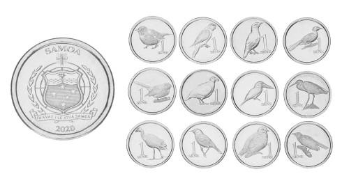 Самоа 2020 — набор из 12-ти монет серии Птицы UNC