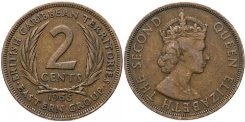 2 цента 1955 Восточные Карибы