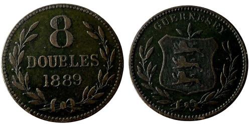 8 дублей 1889 остров Гернси
