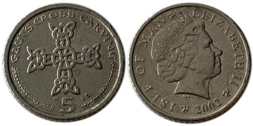 5 пенсов 2002 остров Мэн — Отметка AА на реверсе