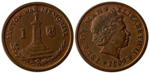 1 пенни 2009 остров Мэн — Отметка AА на реверсе