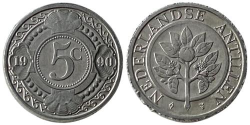 5 центов 1990 Нидерландские Антильские острова