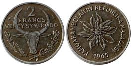 2 франка 1965 Мадагаскар — Пуансеттия прекраснейшая или молочай прекраснейший