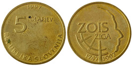 5 толаров 1997 Словения — 250 лет со дня рождения Зигмунда Зоиса