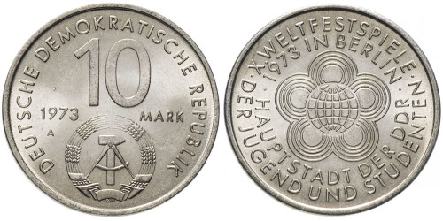 10 марок 1973 Германия (ГДР) — 10-ый международный фестиваль молодёжи и студентов, Берлин