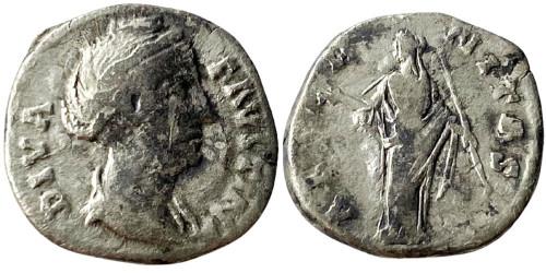 Денарий 100 — 141 г. н.е. — Фаустина I — серебро