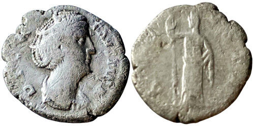 Денарий 100 — 141 г. н.е. — Фаустина I — серебро №1