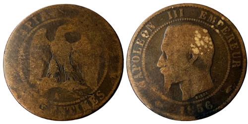 10 сантимов 1856 Франция — Отметка монетного двора: «A» — Париж