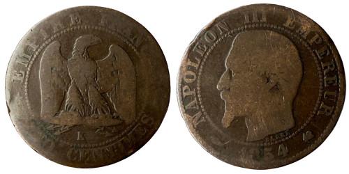 5 сантимов 1854 Франция — Отметка монетного двора: «K» — Бордо