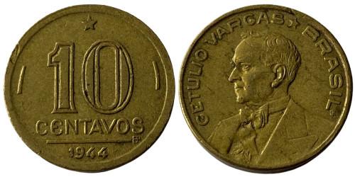 10 сентаво 1944 Бразилия — Жетулиу Варгас — Отметка МД «OM» на аверсе, отметка МД «BR» на реверсе
