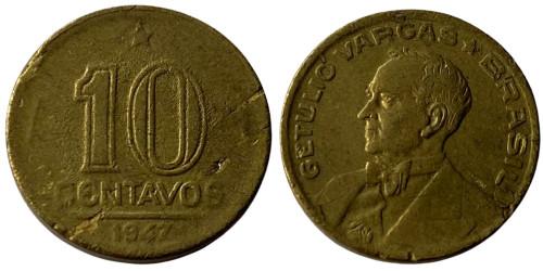 10 сентаво 1947 Бразилия — Жетулиу Варгас