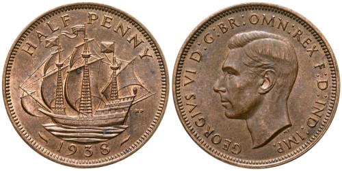 1/2 пенни 1938 Великобритания