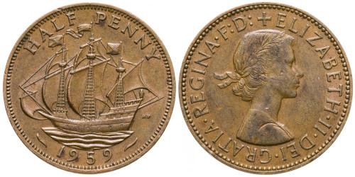 1/2 пенни 1959 Великобритания