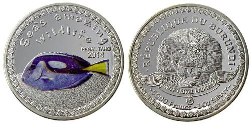 5000 франков 2014 Бурунди — Удивительная дикая природа моря — Голубой хирург (Paracanthurus hepatus)