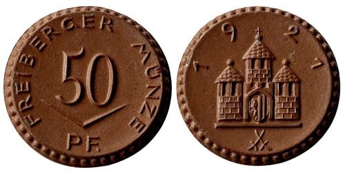 50 пфеннигов 1921 Германия — Нотгельд — Саксония (Фрайберг ) — фарфор