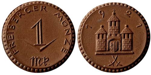 1 марка 1921 Германия — Нотгельд — Саксония (Фрайберг ) — фарфор