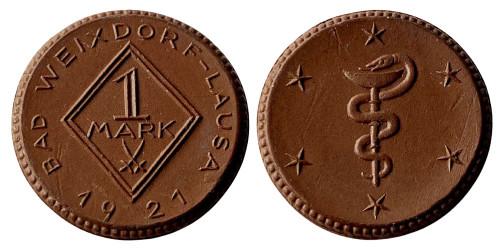 1 марка 1921 Германия — Нотгельд — Бад-Вайксдорф-Лауса — Саксония (Штадт) — фарфор