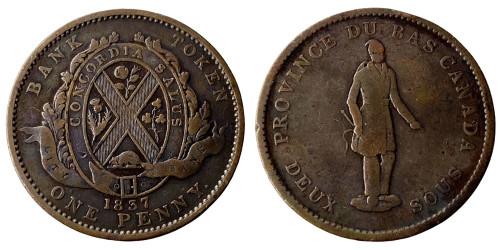 1 пенни 1837 Канада — Жетон Нижней Канады