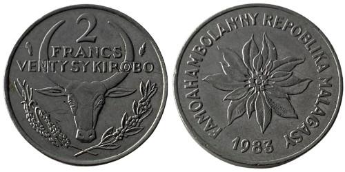 2 франка 1983 Мадагаскар — Пуансеттия прекраснейшая или молочай прекраснейший