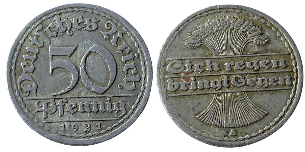 50 пфеннигов 1921 «А» Германия